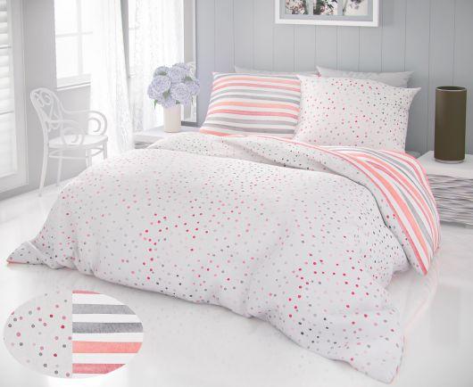 Posteľné bavlnené obliečky DELUX 140x200, 70x90cm DUO sivé