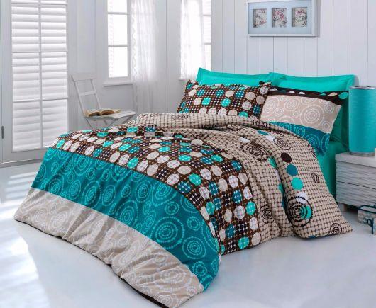 Posteľné bavlnené obliečky DELUX Circles 140x200, 70x90cm