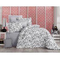 Klasické posteľné bavlnené obliečky DELUX SABINA ČIERNOBIELA 140x200, 70x90cm