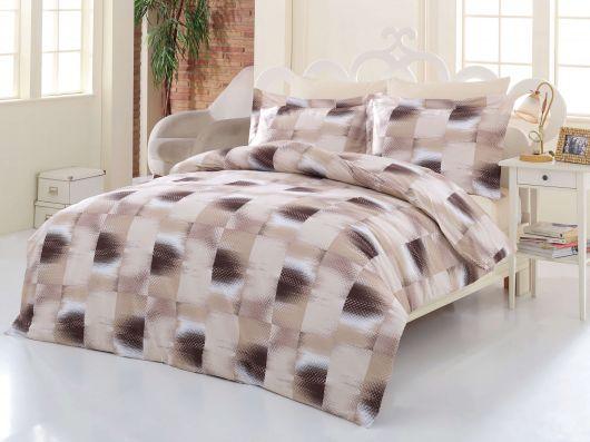 Posteľné bavlnené obliečky DELUX TILES BÉŽOVÉ 140x200, 70x90cm