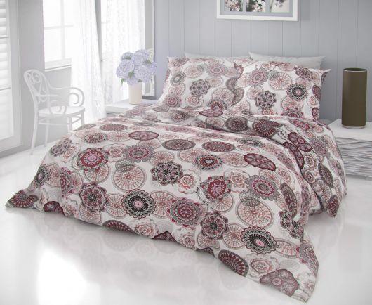 Klasické posteľné bavlnené obliečky DELUX ZATARA červená 140x200, 70x90cm