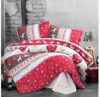 Klasické posteľné flanelové obliečky 140x200, 70x90cm SANTA červený