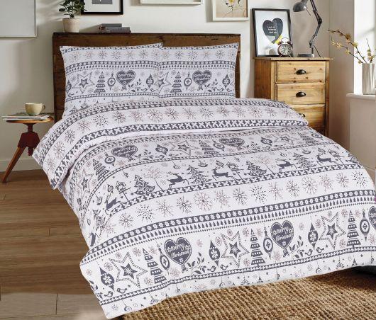 Klasické posteľné flanelové obliečky 140x200, 70x90cm VIANOCE sivé