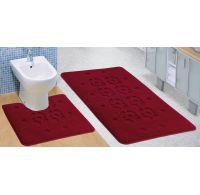 Kúpeľňová a WC predložka bordová stopa