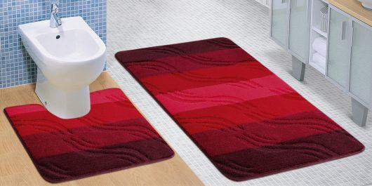 Kúpeľňová a WC predložka bordové vlny