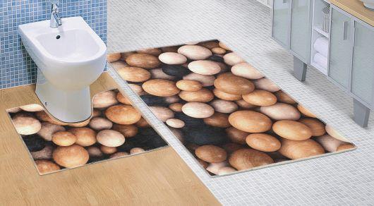 Kúpeľňová a WC predložka Drevené gule 3D