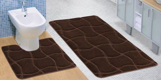 Kúpeľňová a WC predložka hnedá čokoláda