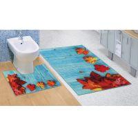 Kúpeľňová a WC predložka Javorové listy 3D