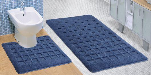 Kúpeľňová a WC predložka modrá dlaždice