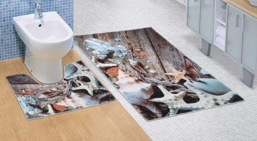 Kúpeľňová a WC predložka Morské lastúry 3D