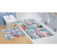 Kúpeľňová a WC predložka Patchwork tyrkysový 3D