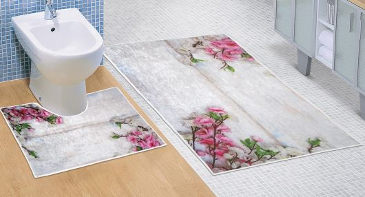 Kúpeľňová a WC predložka Ružový kvet 3D