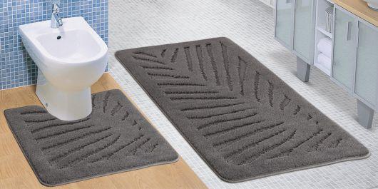Kúpeľňová a WC predložka sivý list