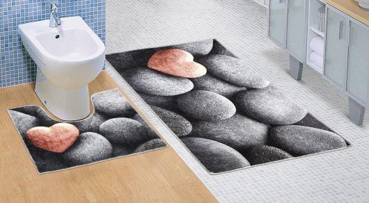 Kúpeľňová a WC predložka Tmavé kamene 3D