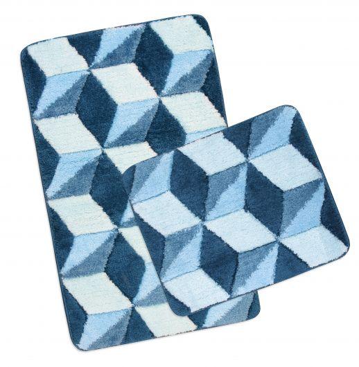 Kúpeľňová a WC predložka ULTRA modrá kocky