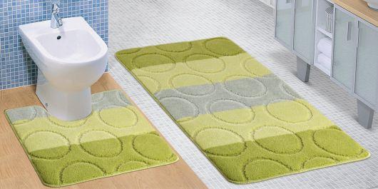Kúpeľňová a WC predložka zelené krúžky