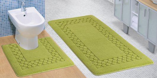 Kúpeľňová a WC predložka zelený rám