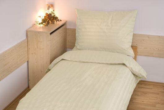 Hotelové obliečky atlas grádl prúžok 140x200, 70x90cm smotanové