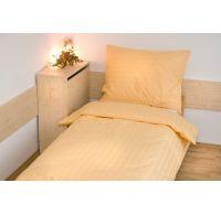 Hotelové obliečky atlas grádl 2cm prúžok 140x200,70x90cm žlté