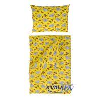 Posteľné obliečky bavlna do detskej postieľky Slony žltí
