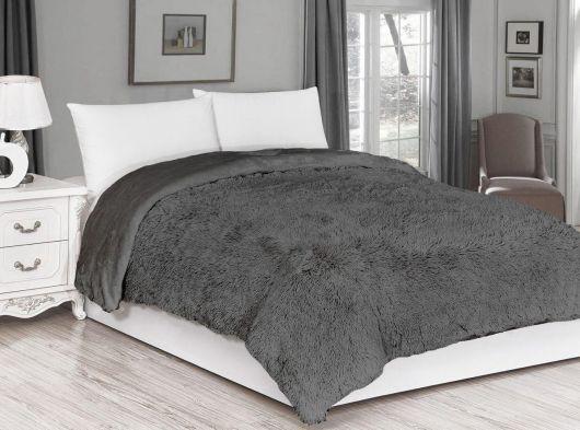 Luxusná deka s dlhým vlasom 200x230cm TMAVO SIVÁ