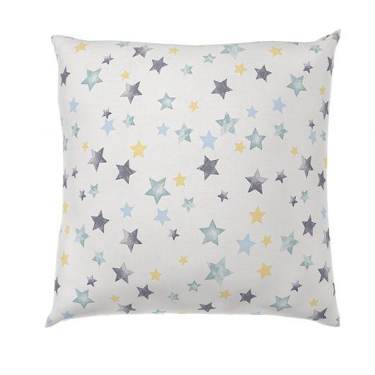 Obliečka na vankúš hladká bavlna DELUX DUO modré hviezdy