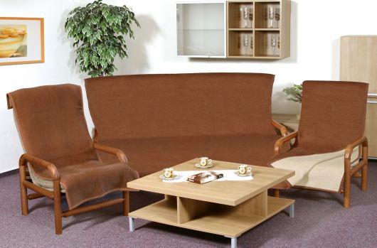 Prikrývka jednofarebná na sedaciu súpravu Micro 3+1+1 sv. béžová/hnedá