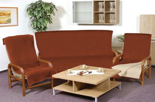Prikrývka jednofarebná na sedaciu súpravu 3+1+1 sv.béžová/terra