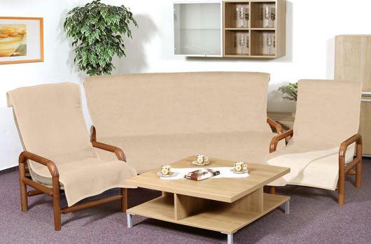 Prikrývka jednofarebná na sedaciu súpravu Micro 3+1+1 tmavo béžová/svetlo béžová