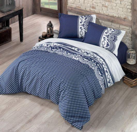 Predľžené posteľné bavlnene obliečky Canzone modré 140x220, 70x90cm