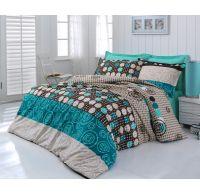 Predľžené bavlnené posteľné obliečky DELUX CIRCLES 140x220, 70x90cm