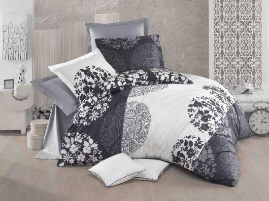 Predľžené bavlnené posteľné obliečky DELUX GREY FIELDS 140x220, 70x90cm
