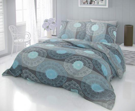 Predĺžené bavlnené obliečky DELUX NAPOLY sivé 140x220, 70x90cm