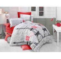 Predľžené bavlnené posteľné obliečky DELUX PARIS EYFEL 140x220, 70x90cm