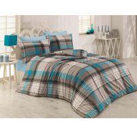 Predľžené bavlnené posteľné obliečky DELUX SQUARE STRIPES 140x220, 70x90cm