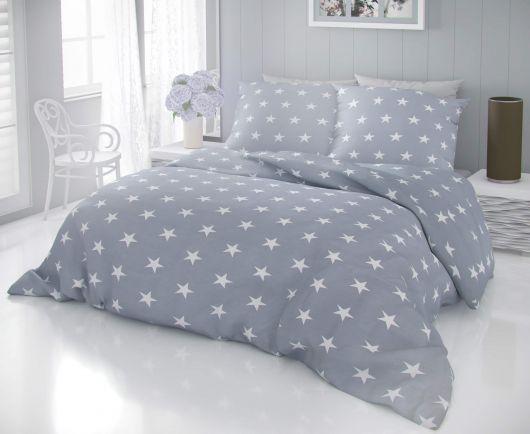 Predĺžené bavlnené obliečky DELUX STARS sivé 140x220, 70x90cm