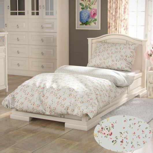 Predĺžené bavlnené obliečky PROVENCE COLLECTION 140x220, 70x90cm ROSE zelené