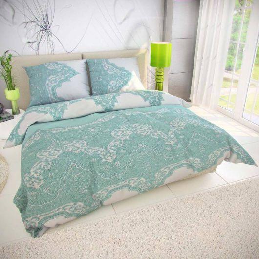 Predľžené posteľné bavlnene obliečky MIKANOS zelené 140x220, 70x90cm