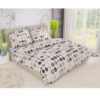 Predl'žené krepové posteľné obliečky Domino béžové 140x220, 70x90cm