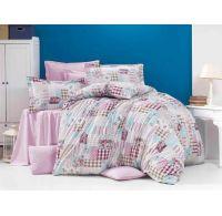 Predĺžené krepové obliečky 140x220, 70x90cm PATCHWORK ružový
