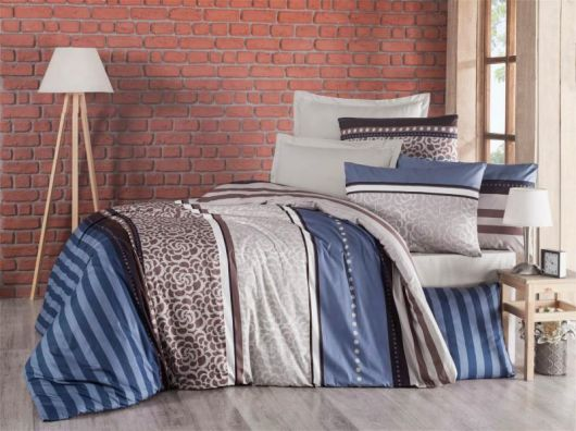 Predĺžené krepové obliečky 140x220, 70x90cm Stripes modré
