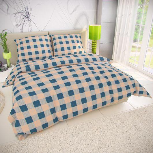 Predĺžené posteľné flanelové obliečky 140x220, 70x90cm LIMA modrá