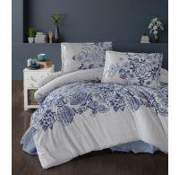 Predĺžené posteľné flanelové obliečky 140x220, 70x90cm MANDORA modrá