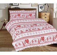 Predĺžené posteľné flanelové obliečky 140x220, 70x90cm VIANOCE červené