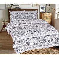 Predĺžené posteľné flanelové obliečky 140x220, 70x90cm VIANOCE sivé
