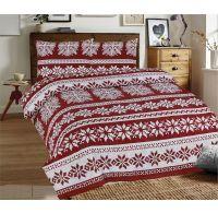 Predĺžené posteľné flanelové obliečky 140x220, 70x90cm VLOČKY bordó