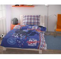 Predĺžené posteľné obliečky pre mladých 140x220, 70x90cm Basket modrý