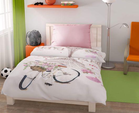 Predĺžené posteľné obliečky pre mladých 140x220, 70x90cm Paris love
