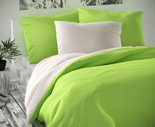 Saténové francúzske obliečky LUXURY COLLECTION biele / svetlo zelené 1 + 2, 200x200, 70x90cm