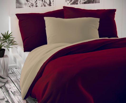 Saténové francúzske obliečky LUXURY COLLECTION bordó / béžové 1 + 2, 200x200, 70x90cm
